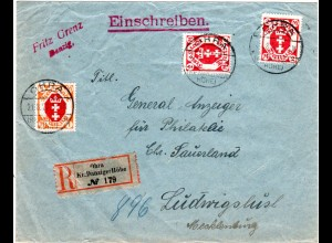 Danzig 1922, 1+2x2 Mk. auf Einschreiben Brief v. OHRA Kr. Danziger Höhe