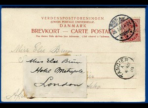 Dänemark Marokko GB 1903, Nachsende Karte v. Rönne n. Tanger u. London. #2505