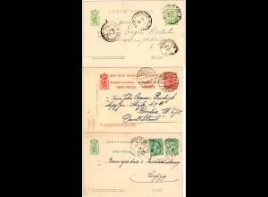Luxemburg 1887/1910, 3 versch. Ganzsachen m. vielen Stempeln, 1mal m. Zusatzfr.