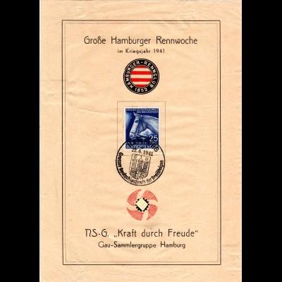 DR 1941, 25+100 Pf. Deutschlandpreis auf Ereignisblatt m. entsprechendem SoStpl.