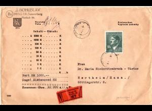 Böhmen u. Mähren 1944, EF 10 K. auf portorichtigem Wert Brief v. Prag