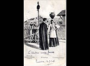 Portugal, Coimbra, 1908 n. Belgien gebr. sw-AK