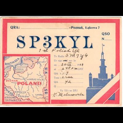 Polen, Poznan, attraktive Radio Funk Karte m. Vignette Exposition 1929