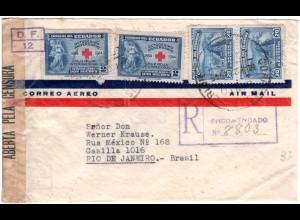 Ecuador 1945, 4 Marken auf Reko Luftpost Zensur Brief v. Quito n. Brasilien