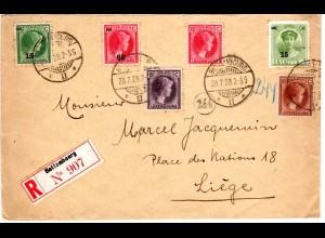 Luxemburg 1928, 6 Marken auf Einschreiben Brief v. Bettembourg m. rs. Vignette