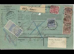 DR 1895, Paketkarte v. Kassel m. 5 Marken u. Steuermarke v. Bulgarien. #2639