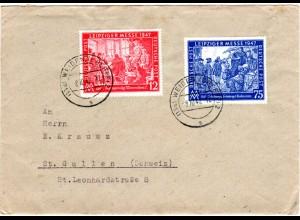 1947, 12+75 Pf. Leipziger Messe auf Brief v. Weiden i.d. Schweiz