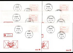 Belgien 1981, 59 F. Automatenmarke, FDCs v. 6 versch. Orten