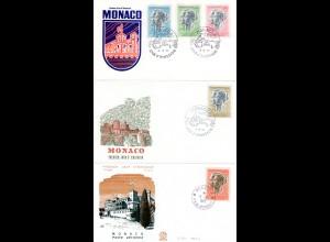Monaco 1966/71, 3 FDC m. 5 versch. Marken. (Kat. 59,50 €)