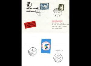 Grönland 1976, 10 Kr.+30 öre auf Eilboten Brief v. Godhavn n. Deutschland
