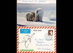 Grönland 1976, 1 Kr. auf Luftpost Bilder Brief m. Eisbär v. Godhab n. Dänemark