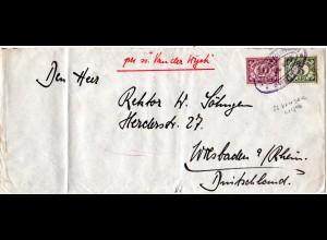 NL Indien 1929, 5+10 C. auf Brief m. viol. Schiffspost Stpl. SS VAN DER WIJCK