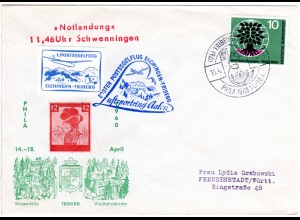 BRD 1960, Postsegelflug Brief Elchingen-Triberg m. Aufkleber u. Sonderstempel