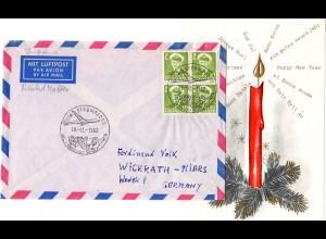 Grönland 1962, 4er Block 10 öre auf Weihnachten Luftpost Brief v. Sör Strömfjord