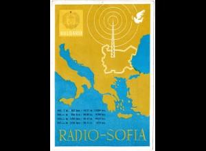 Bulgarien, Radio-Funk Karte m. Abb. Friedenstaube