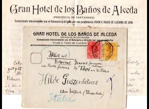 Spanien 1919, 10+15 C. auf Hotel Brief Los Banos de Alceda m. Bahnpost Stpl.
