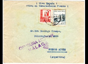 Spanien 1937, 30 C.+ 5 C. Pro Malaga auf Zensur Brief v. Malaga n. Argentinien
