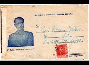 Spanien 1938, 30 C. auf Franco Propaganda Zensur Brief v. Oviedo n. Argentinien