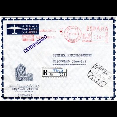 Spanien 1978, Banco Espanol de Credito Reko Luftpost Brief v. Noya n. Schweden