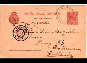 Spanien 1899, K2 La Laguna Canarias auf 10 C. Ganzsache n. NL