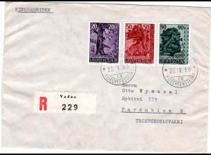 Liechtenstein 1959, 20+50+90 R. auf Reko Brief v. Vaduz i.d. Tschechoslowakei