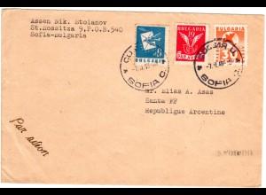 Bulgarien 1949, 6+19+30 L. auf Luftpost Brief v. Sofia n. Argentinien