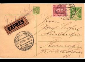 Tschechoslowakei 1926, 1 K. Zusatz auf 50 H. Ganzsache per Eilboten v. Teplitz