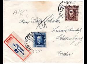 Tschechoslowakei 1926, 2+3 K auf Reko Brief v. Rychnov nad Kneznou i.d. Schweiz