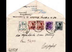 Spanien 1931, 5 Marken auf Hotel Brief v. Bilbao n. Schweden