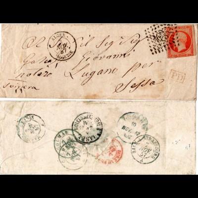 Frankreich Algerien 1857, 40 C. auf PD Brief v. 3710 ALGER i.d. Schweiz