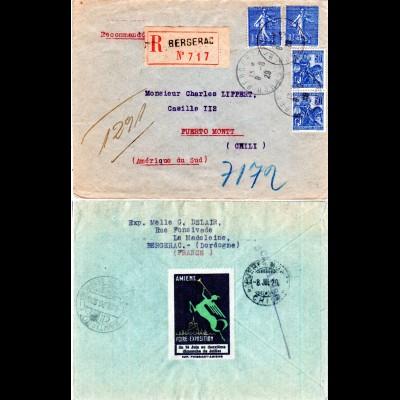 Frankreich 1929, 2x1 Fr.+2x50 C. auf Einschreiben Brief v. Bergerac n. Chile