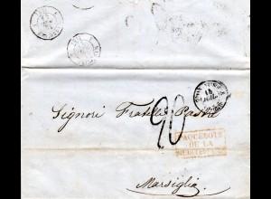 Französ. Levante 1854, Paquebots De La Mediterranée auf Brief v. Constantinople