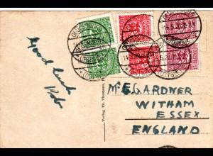 Schleswig 1920, je 2x5+10+15 Pf. auf Auslands Postkarte v. Glücksburg n. GB