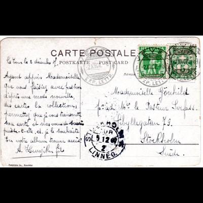Schweiz 1907, 5+5 C. wertgleiche Mischfrankatur auf AK v. Vevey n. Schweden