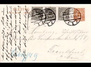 Schleswig 1920, 3er-Streifen 2 1/2 auf 7 1/2 Pf. Ganzsache v. Flensburg