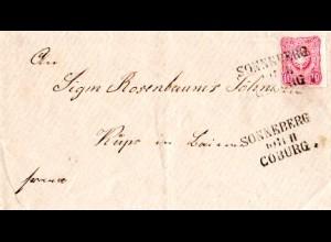 DR 1876, Bahnpost L3 SONNEBERG COBURG klar auf Brief m. 10 Pfge.