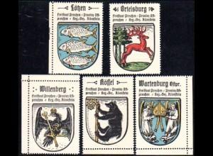 Lötzen, Ortelsburg, Willenberg, Rössel, Wartenburg, 5 Ostpreussen Sammelmarken
