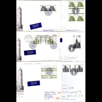 Irland, 6 FDC Architektur, u.a. m. Zwischenstegen. Dabei Luftpost u. Reko