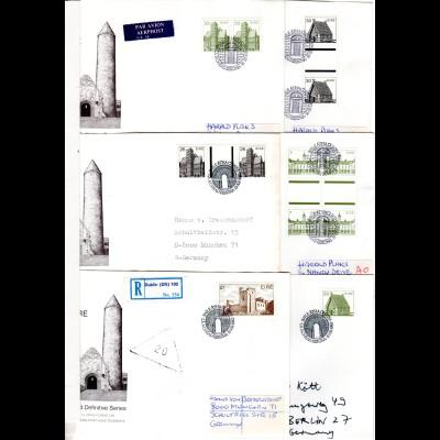 Irland, 6 FDC Architektur, u.a. m. Zwischenstegen. Auch Luftpost u. 1 Pound Reko