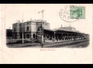 Belgien, Herbesthal Bahnhof, 1905 m. dt. Bahnpost Cöln-Verviers gebr. sw-AK
