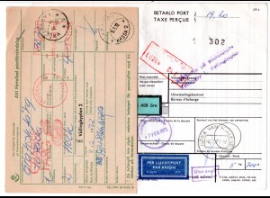 NL 1972, Luftpost Paketkarte v. Hoek van Holland m. Schweden Porto