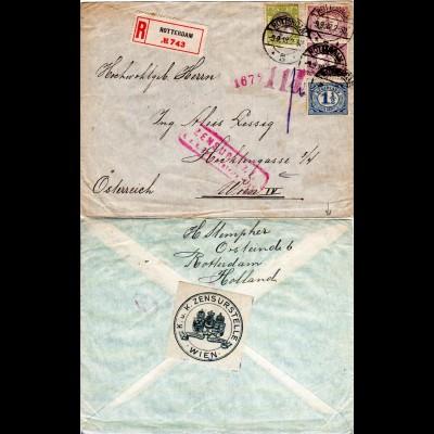 NL 1918, 4 Marken auf WW I Reko Zensur Brief v. Rotterdam n. Österreich