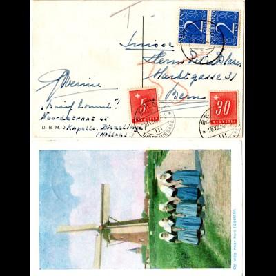 NL 1950, Paar 2 C. auf AK v. ZIERIKZEE m. Schweiz Porto 5+30 C. v. Bern.