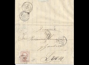 Spanien 1873, 40 C. auf Brief v. Cadiz n. Frankreich. #1409