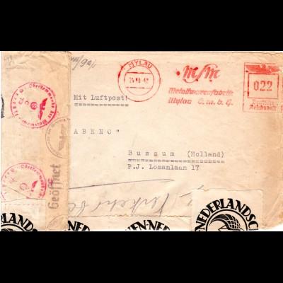 DR 1942, Luftpost Zensur Brief v. Mylau m. NL Post-Verschluss Etiketten
