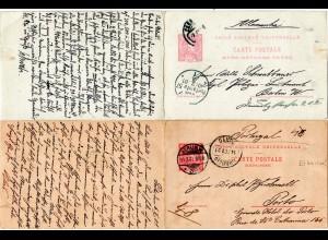 Portugal 1901, hin u. her gebr. 25+25 R. Doppelkarte Porto-Berlin-Porto