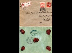 Reko-Stpl. Seepost Bremen-New York R rücks. auf Schweden Brief v. Mariestad