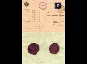 Österreich 1916, 5 K. auf FP Brief n. Berlin m. Stpl. u. rs. Siegel FP-Amt 160