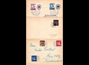 Böhmen und Mähren 1941/44, 3 Briefe m. versch. Frankaturen n. Berlin