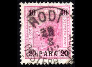Österreich Post Levante, 20 Pa./10 H. m. Griechenland Stempel RODI OESTERR. POST